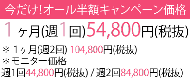 1ヶ月(週1回)6.8万円(税抜)